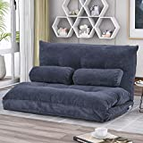 Lazy Sofa Bed Adjustable Floor Sofa, Foldable Gaming Sofa Mattress Futon Couch Bed with 2 Pillows (Grey)