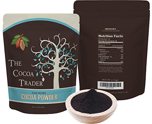 The Cocoa Trader Dutch Processed Black Cocoa Powder - All Natural Alkalized Unsweetened Cocoa with Smooth Mellow Flavor - Use in Baked Goods, Coffee, Smoothies, and Shakes - 1 LB