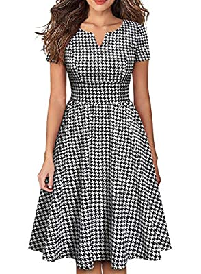 💓 ELEGANT UNIQUE ROUND NECKLINE with a V-NOTCH : The women's a-line casual party dress has a plunging V shape, but good chest coverage and it doesn't show too much cleavage. Super cute! The neck line is unique and really flattering. The Invisible zip...