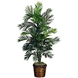 Nearly Natural 5263-0308 56in. Areca Palm Silk Tree with Basket,Green,10' x 10' x 48'