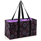 Large Utility Tote Bag With Handles, 2 Zippered Coolers, Heavy Duty Fabric - Beach Picnic Basket, Collapsible Grocery Cart, Insulated Lunch Bag for Work, Car Trunk Organizer For Women (Purple Circle)