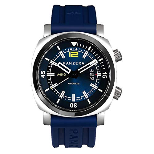 Panzera Aquamarine Pro Diver Infinity Blue Pioneer Automatik Stahl Datum Silikon Saphir Uhr Herren