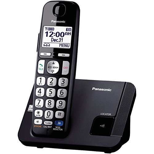 Panasonic Expandable Cordless Phone DECT 6.0 with Talking Caller ID and Enhanced Noise Reduction, Black/Silver - 1 Handset (KX-TGE210B)