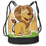 XCNGG Mochila con cordón, Bolso Lindo de la Mochila del Paquete del Gimnasio del Viaje del Deporte de la impresión del león