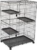 AmazonBasics Cage de jeu pour chat 3 niveaux Grand modèle Noir...