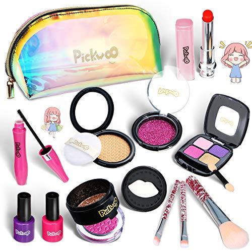 Pickwoo Kids Makeup Kit for Girl Pretend Play Girls Makeup Non-Toxic Play Makeup for Little Girls with Fashion Kids Makeup Hand Bag Kids Nail Plish Set for Girls Christmas Birthday Gift