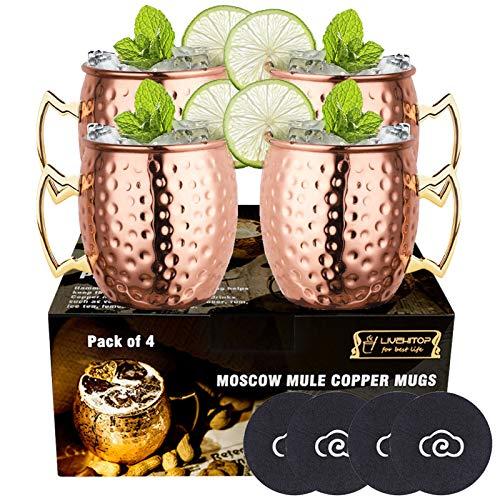 LIVEHITOP Moscow Mule Set 4 Bicchieri Rame, 530ml Tazze Rame con Coaster Accessori per Cocktail, Bevanda Fredda, Festa, Bar (Pack of 4)