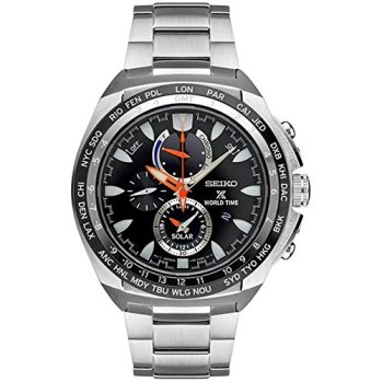 New Seiko SSC487 World Time Solar Chronograph Prospex Stainless Steel Mens Watch