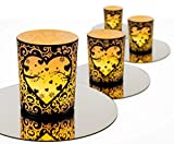 Casa Dion Romantic Tealight Candle Holders, Set of 4, Decorative Votive Holder with Round Mirrors, for Table Centerpiece, Romantic Dinners, Newlywed Gifts