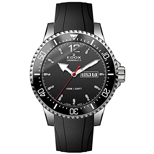 Edox Chronorally-S Herren-Armbanduhr 44mm Armband Kautschuk Schwarz Schweizer Quarz Analog 84300 3CA NBN
