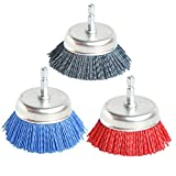 3Pcs 3 Inch Assorted Cup Brushes Abrasive Wire Nylon Cup Brush for Drill,Grit 80 120 320 with 1/4' Shank