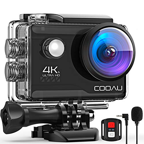 COOAU Action Cam HD 4K 20MP WiFi Con Microfono Esterno Fotocamera Sott'acqua 40M con Telecomando EIS Stabilizzazione Videocamera Impermeabile 170° Grandangolare Time Lapse/2 Batterie 1200mAh/Accessori