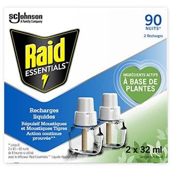 RAID ESSENTIALS RECHARGES POUR DIFFUSEURS ÉLECTRIQUES LIQUIDES RÉPULSIFS MOUSTIQUES, 90NUITS, 2 X 32ml