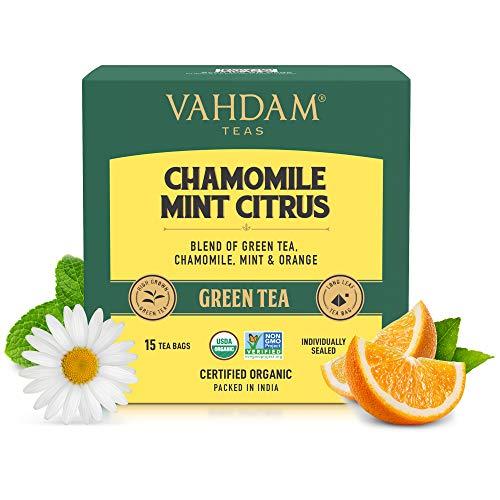 VAHDAM Organic Chamomile Green Tea with Mint (Vitamin C Fortified) (15 TBS) - Camomile Herbal Tea for Stress Relief and Good Sleep   100% Whole Long Leaf, Pyramid Tea Bags