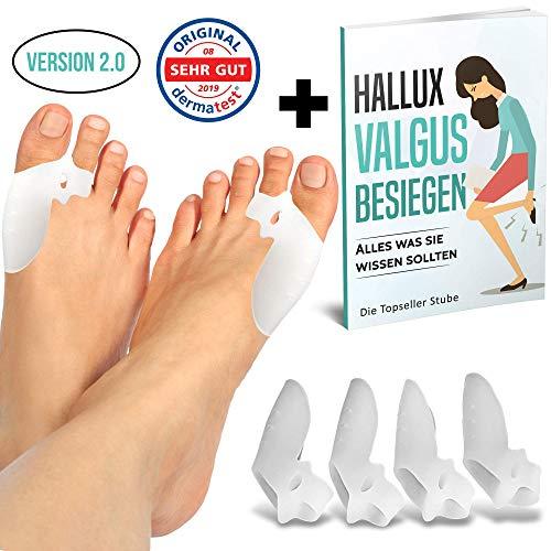 MAGICTOES® Verbesserte Hallux Valgus Zehenspreizer mit einstellbarer Zehenspreizwirkung   + Exklusiver Ratgeber   2x effektiver durch extra Zehenschlaufe   4er Set