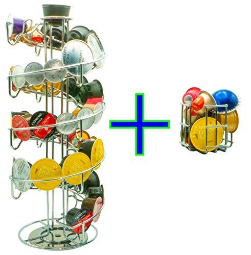MAUMI Portacapsule Dispenser per Capsule di caffè di Nespresso, Dolce Gusto, Tchibo, Krups, UVM. con Contenitore supplementare per Capsule Bonus, Girevole, cromate, Universale