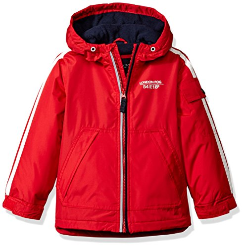 LONDON FOG Boys' Big Jacket with Striped Sleeves, Real red, 14/16