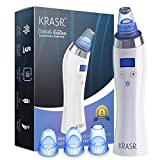 The Original Blackhead Remover Vacuum - Krasr Facial Pore Cleanser Electric Acne Comedone Extractor Kit USB Rechargeable Blackhead Suction Tool with LED Display for Facial Skin (White)