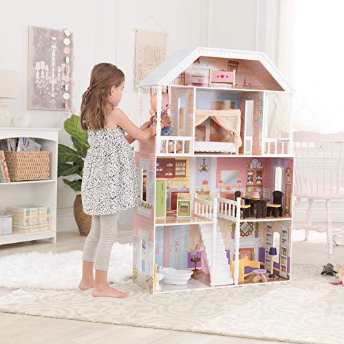 Image 8 - Kidkraft - 65023 - Maison de Poupées en Bois Savannah Incluant Accessoires et Mobilier, 4 Étages de Jeu pour Poupées 30 cm