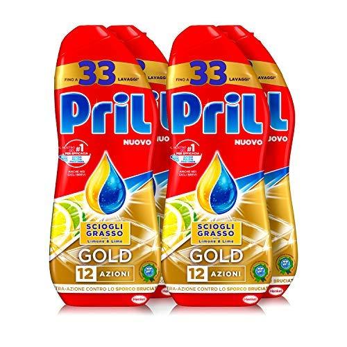 Pril Gold Gel lavastoviglie Sciogli Grasso Limone & Lime, Detersivo lavastoviglie con sgrassatore...