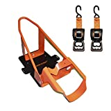 Lock N Load BK1000 Deluxe Motorcycle Wheel Chock with Quick-Release Ratchet & D-Ring System (Orange/Black)