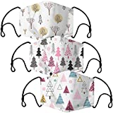 O³ Mundschutz Maske mit Winter-Motiv // 3 Stoff Masken mit Filter (Winterdesign Tannenbaum) bunt, lustig, komisch für Männer & Frauen // Waschbar & Wiederverwendbar