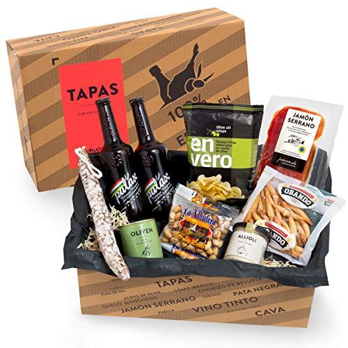 Präsentkorb Spanische Delikatessen - TAPAS I gefüllter Geschenkkorb mit Bier & Spezialitäten aus...