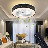 Enclosed Ceiling Fan With Lights, LED Kit inCluded, 20-Inch Invisible ceiling fan light with Remote Control, 3-Color, Dimming,72W Thin Embedded Smart Timing, Kitchen, LivingRoom, Children's Room