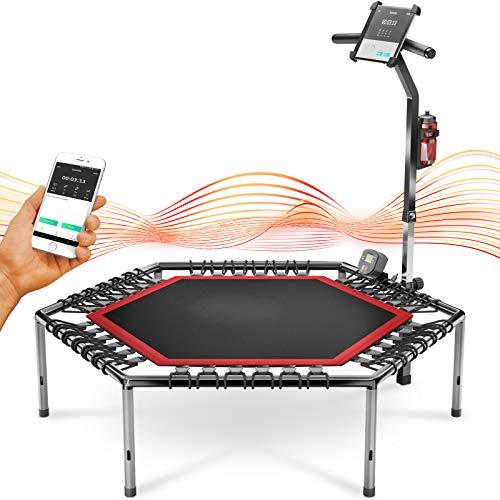 Messe-Neuheit 2020! Smart Fitness Trampolin, inkl. Pulsgurt, Trainings-Video, Sprungzähler & APP, klappbar, höhenverstellbarer Haltegriff mit Handy- & Flaschenhalterung, HTX100 Indoor Jumping Workout