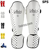 Bangplee_Sport FAIRTEX SP5 Competition SHIN Pads Guards PROTACTIVE Gear Boxing Martial Art Kickboxing (White, L)