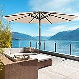ROWHY 9ft Outdoor Patio Umbrella Table Umbrella Windproof Umbrella Outdoor for Marke Garden, Deck, Backyard(Beige)