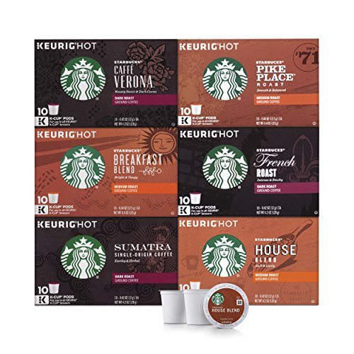Starbucks Black Coffee K-Cup Coffee Pods  Variety Pack for Keurig Brewers  6 boxes (60 pods total)