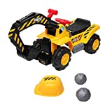 VALUE BOX Kids Ride On Construction Excavator, Digger Scooter Tractor Toys Bulldozer W/ Safety Helmet, Rocks, Horn, Underneath Storage, Moving Forward/Backward, Pretend Play Ride On Truck Yellow