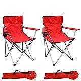 Mojawo Lot de 2 chaises pliantes pour la pêche/le camping avec porte-gobelet et sac de transport - Charge maximale:120kg - Rouge