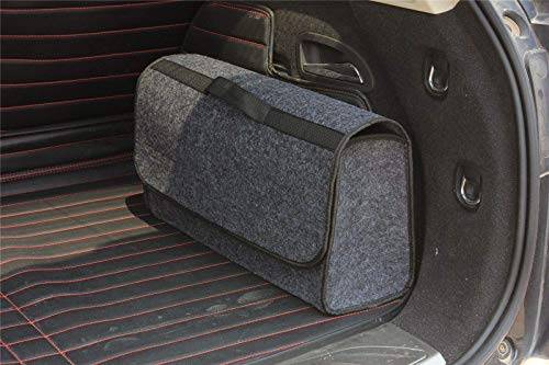 House of Quirk Car Trunk Organizers Large Anti Slip Car Trunk Compartment Boot Storage Organizer Utility Tool Bag (Dark Grey)