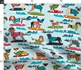 Spoonflower Fabric - Surfing Dogs Cute Summer Surf Dog Beach Tropical Labrador Corgi Printed on Petal Signature Cotton Fabric by The Yard - Sewing Quilting Apparel Crafts Decor