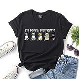 LXHcool Coron_avirus Je suis Masque Social Eloignement Cat Imprimer Manches Courtes T-Shirt (Color : Black, Size : M)