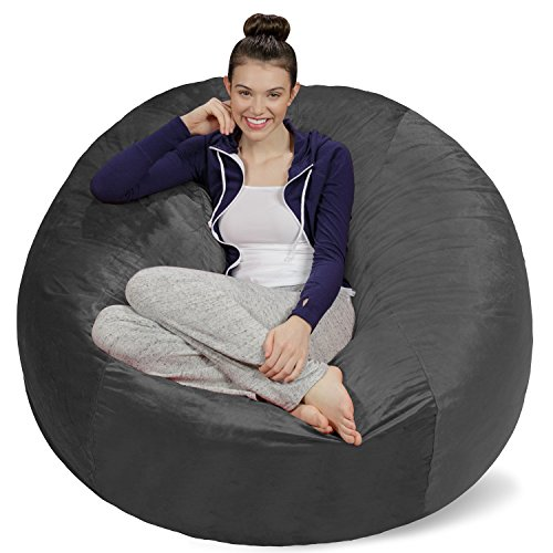 Sofa Sack - Plush Ultra Soft Bean Bags Chairs For Kids, Teens, Adults - Memory Foam Beanless Bag Chair with Microsuede Cover - Foam Filled Furniture For Dorm Room - Charcoal 5' (AMZBB-5SK-CS03)