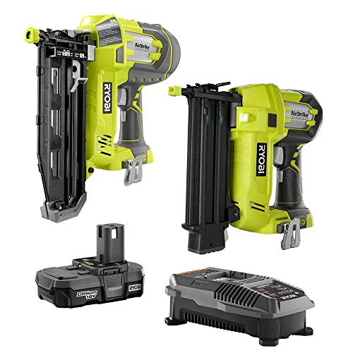 Ryobi 18-Volt ONE+ Lithium-Ion Cordless AirStrike 18-Gauge Brad Nailer and 16-Gauge Straight Nailer 2-Tool Combo Kit, P320 + P325 - (Bulk Packaged) (Renewed)