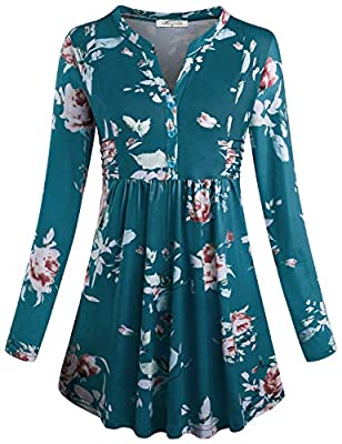 Unique Fashionable Flared Design/Long Sleeve/Figure Flattering Style/Slim Fit Tunic/Notch Neck with Buttons Embellished/Flared Hem/Solid Color The empire waist design gives it a silhouette chic style. Besides, it's flattering to make you look thinner...