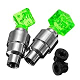 New Tech Junkies NTJ (4 Pack) Dice Top Face Led Motion Activated Bike Bicycle Wheel Valve Stem Cap Tire Light (Green)