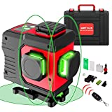 WETOLS 12 Lines Laser Level, 3x360° 3D Green Cross Line, Rechargeable Li-ion battery, Remote Controller, Switchable & Auto Self-Leveling, Three-Plane Leveling and Alignment, with Portable Toolbox