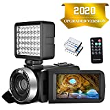 """Camcorder Video camera Full HD 1080P 30FPS 24.0MP Digital Camera Night Vision Vlogging Camera 18x Digital Zoom 3.0""""IPS 270° Rotation Screen With Night Vision Fill Light Remote Control and 2 Batteries"""