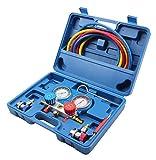 KFZTEILESCHNELLVERSAND24 Klimaanlagenprüfung Klimaanlage Prüfung mit Temperatur Druckuhr-Armatur...