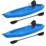 Lifetime Lotus Sit-On-Top Kayak with Paddle (2 Pack), Blue, 8'