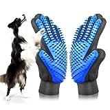 [UPGRADE] Pet Grooming Glove - Gentle Deshedding Brush Glove - Efficient Pet Hair Remover Mitt - Enhanced Five Finger Design - Perfect for Dog & Cat with Long & Short Fur - 1 Pair (BLUE)