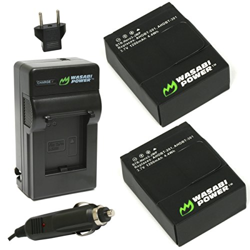 Wasabi Power Battery (2-Pack) and Charger for GoPro HERO3+,...
