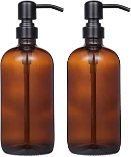 2 Pack Thick Amber Glass Pint Jar Soap Dispenser with Matte Black Stainless Steel Pump,..