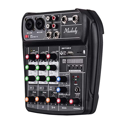 Festnight AI-4 Compact Sound Card Console di missaggio Mixer audio digitale 4 canali BT MP3 Ingresso USB + 48 V Phantom Power per registrazione musicale DJ Network Live Broadcast Karaoke