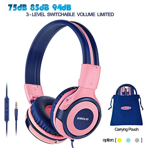SIMOLIO Kids Headphones with 94dB,85dB,75dB Volume Limited & Share Jack, Headphones for Girls with Mic, Durable Children Headphones with Safe Volume, On-Ear Kids Headsets for Gift/School/Plane (Pink)